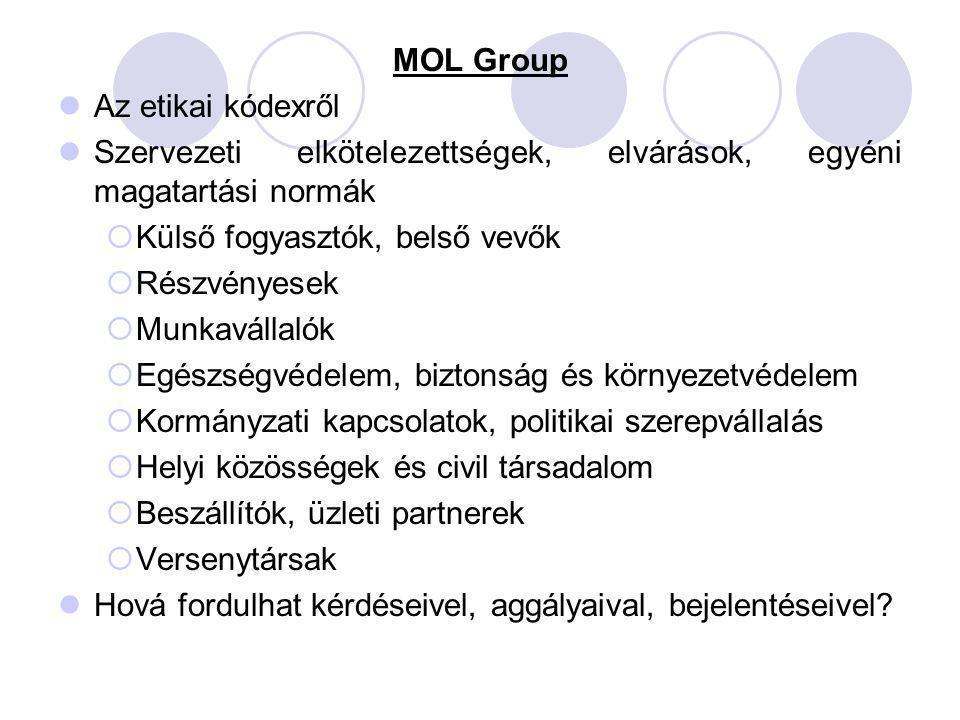 MOL Group Az etikai kódexről Szervezeti elkötelezettségek, elvárások, egyéni magatartási normák  Külső fogyasztók, belső vevők  Részvényesek  Munka