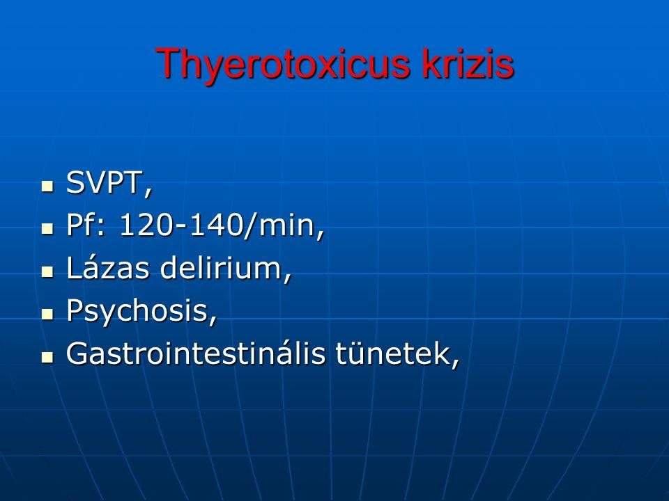 Thyerotoxicus krizis SVPT, SVPT, Pf: 120-140/min, Pf: 120-140/min, Lázas delirium, Lázas delirium, Psychosis, Psychosis, Gastrointestinális tünetek, G