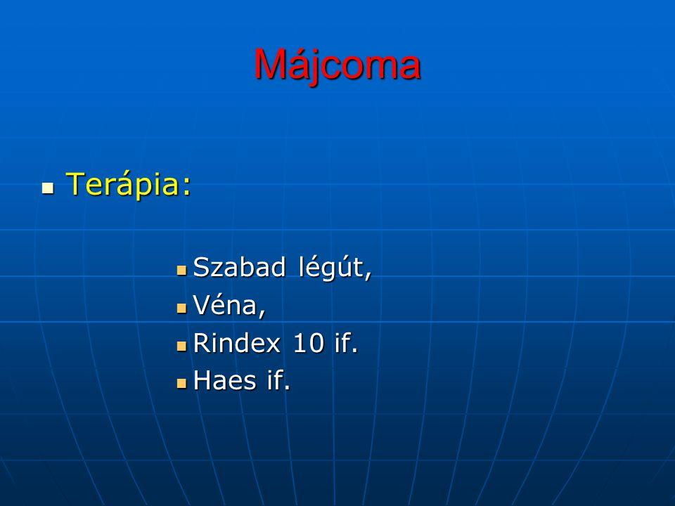 Májcoma Terápia: Terápia: Szabad légút, Szabad légút, Véna, Véna, Rindex 10 if. Rindex 10 if. Haes if. Haes if.