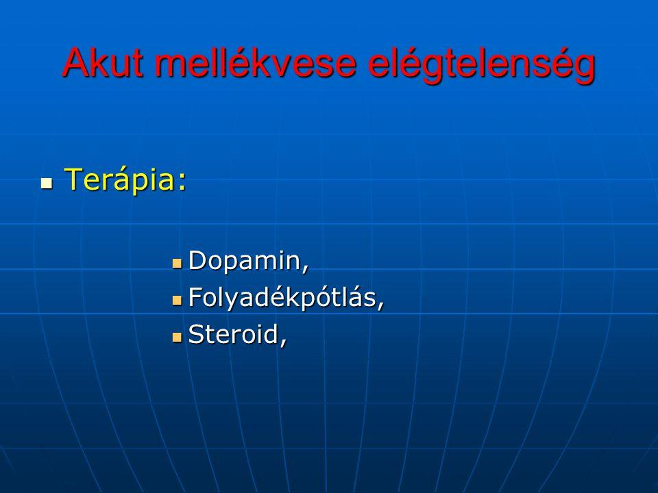 Akut mellékvese elégtelenség Terápia: Terápia: Dopamin, Dopamin, Folyadékpótlás, Folyadékpótlás, Steroid, Steroid,
