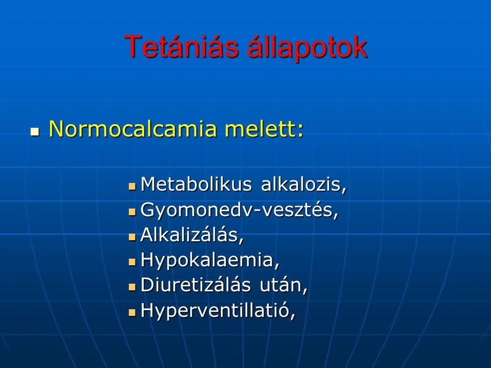 Tetániás állapotok Normocalcamia melett: Normocalcamia melett: Metabolikus alkalozis, Metabolikus alkalozis, Gyomonedv-vesztés, Gyomonedv-vesztés, Alk