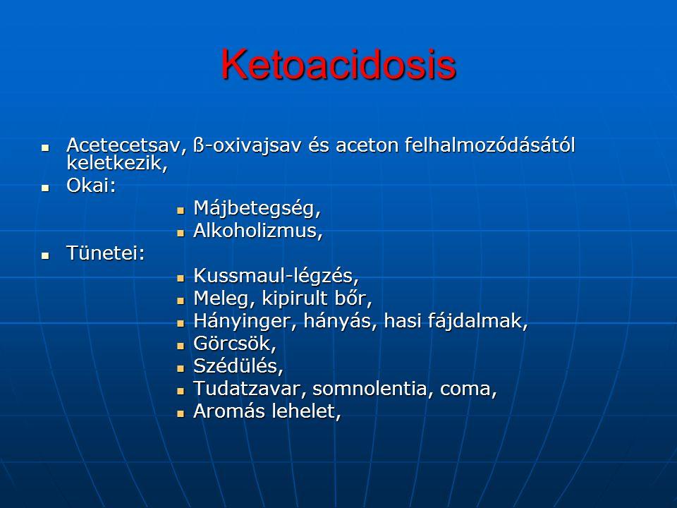 Ketoacidosis Acetecetsav, ß-oxivajsav és aceton felhalmozódásától keletkezik, Acetecetsav, ß-oxivajsav és aceton felhalmozódásától keletkezik, Okai: O