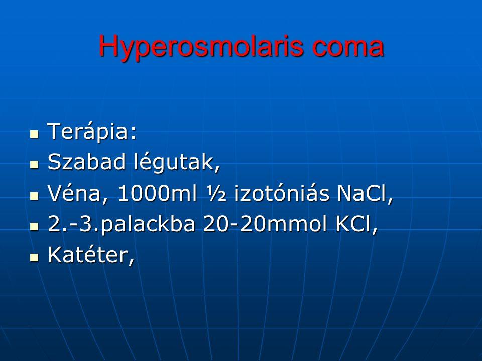 Terápia: Terápia: Szabad légutak, Szabad légutak, Véna, 1000ml ½ izotóniás NaCl, Véna, 1000ml ½ izotóniás NaCl, 2.-3.palackba 20-20mmol KCl, 2.-3.pala