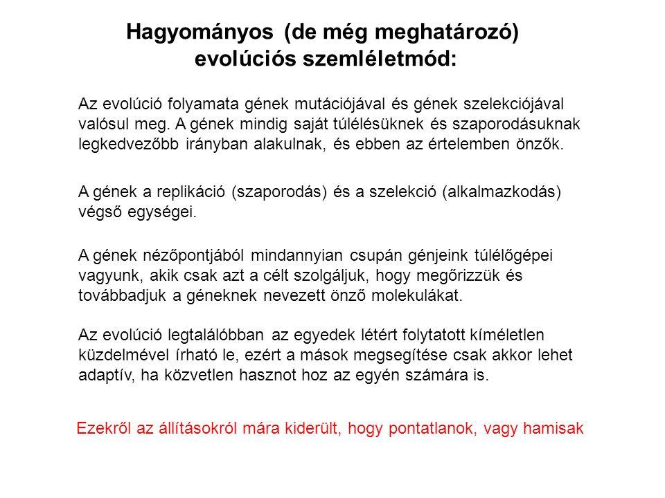 Az evolúció folyamata gének mutációjával és gének szelekciójával valósul meg.