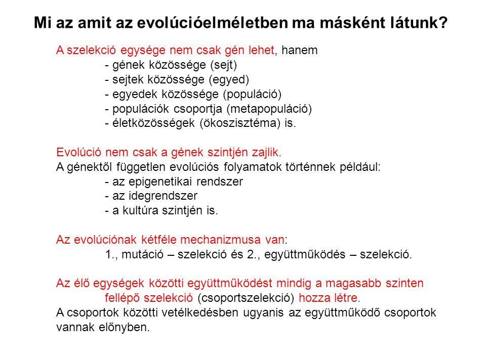 Mi az amit az evolúcióelméletben ma másként látunk.
