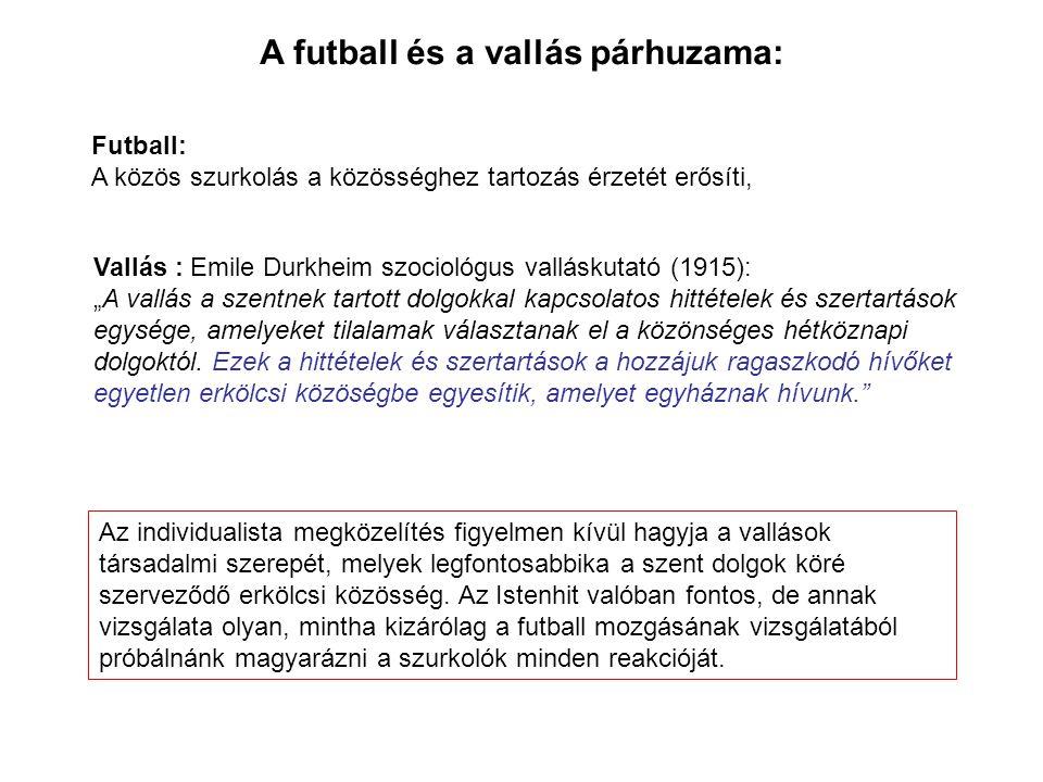 """Futball: A közös szurkolás a közösséghez tartozás érzetét erősíti, A futball és a vallás párhuzama: Vallás : Emile Durkheim szociológus valláskutató (1915): """"A vallás a szentnek tartott dolgokkal kapcsolatos hittételek és szertartások egysége, amelyeket tilalamak választanak el a közönséges hétköznapi dolgoktól."""