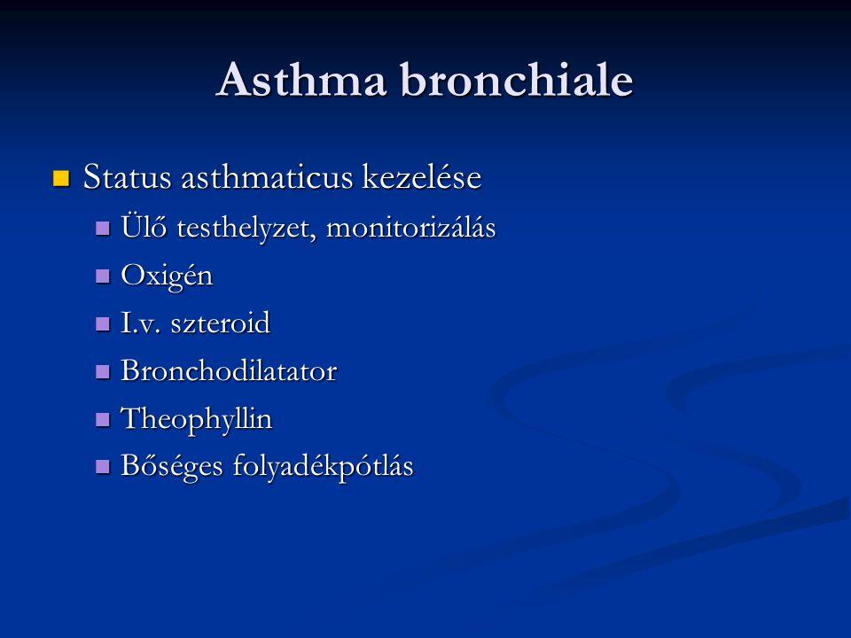 Asthma bronchiale Status asthmaticus kezelése Status asthmaticus kezelése Ülő testhelyzet, monitorizálás Ülő testhelyzet, monitorizálás Oxigén Oxigén