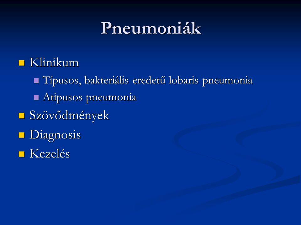 Pneumoniák Klinikum Klinikum Típusos, bakteriális eredetű lobaris pneumonia Típusos, bakteriális eredetű lobaris pneumonia Atipusos pneumonia Atipusos