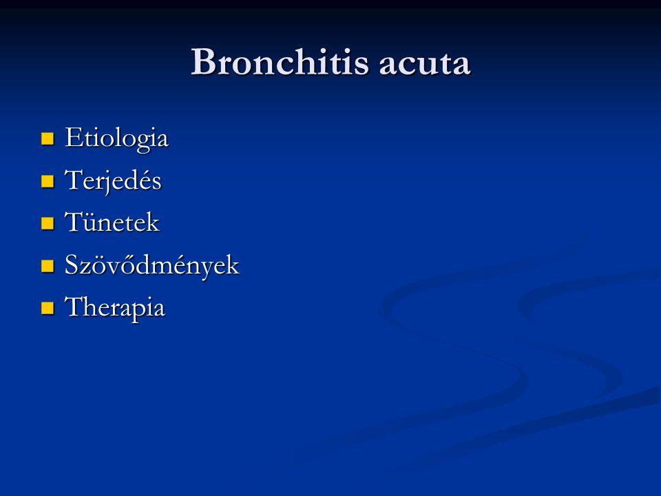 Bronchitis acuta Etiologia Etiologia Terjedés Terjedés Tünetek Tünetek Szövődmények Szövődmények Therapia Therapia