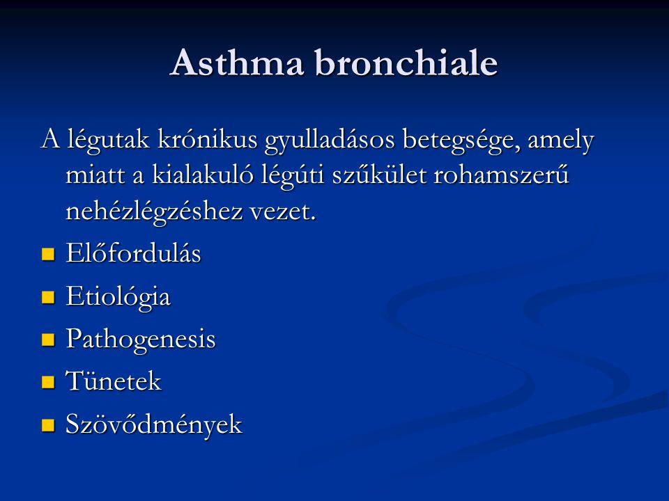 Asthma bronchiale Súlyossági fokozatok Gyakoriság Tünet nappal Tünet éjjel FEV1 kell érték %-ban Intermittáló<2x/hét<2x/hónap>80% Perzisztáló enyhe 75%<1x/nap<2x/hónap>80% Perzisztáló kp.