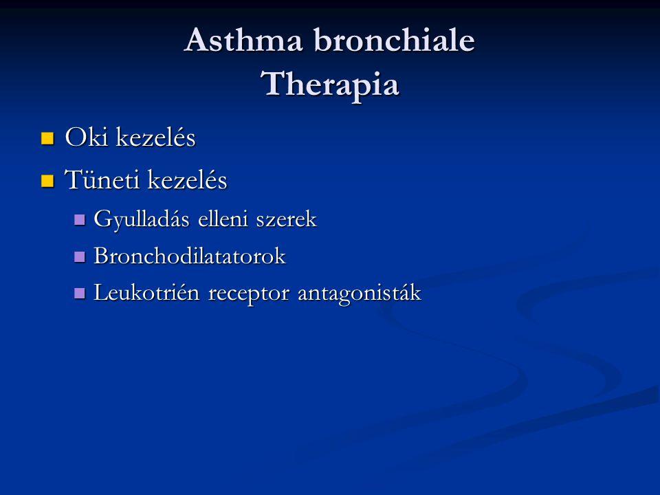 Asthma bronchiale Therapia Oki kezelés Oki kezelés Tüneti kezelés Tüneti kezelés Gyulladás elleni szerek Gyulladás elleni szerek Bronchodilatatorok Br