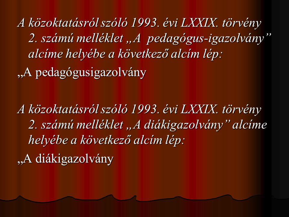 """A közoktatásról szóló 1993. évi LXXIX. törvény 2. számú melléklet """"A pedagógus-igazolvány"""" alcíme helyébe a következő alcím lép: """"A pedagógusigazolván"""