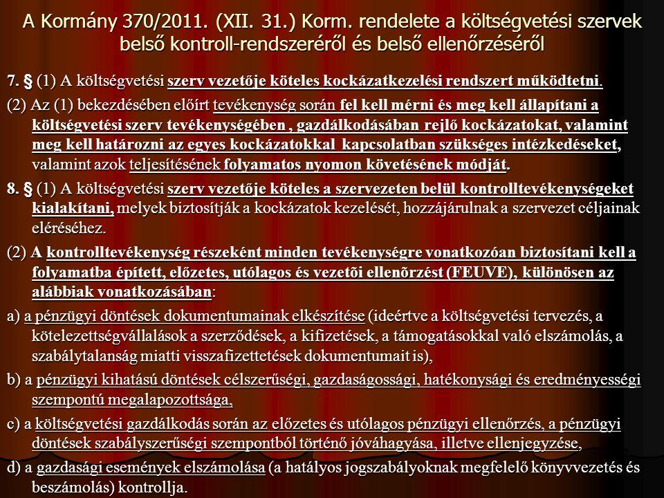A Kormány 370/2011. (XII. 31.) Korm. rendelete a költségvetési szervek belső kontroll-rendszeréről és belső ellenőrzéséről 7. § (1) A költségvetési sz