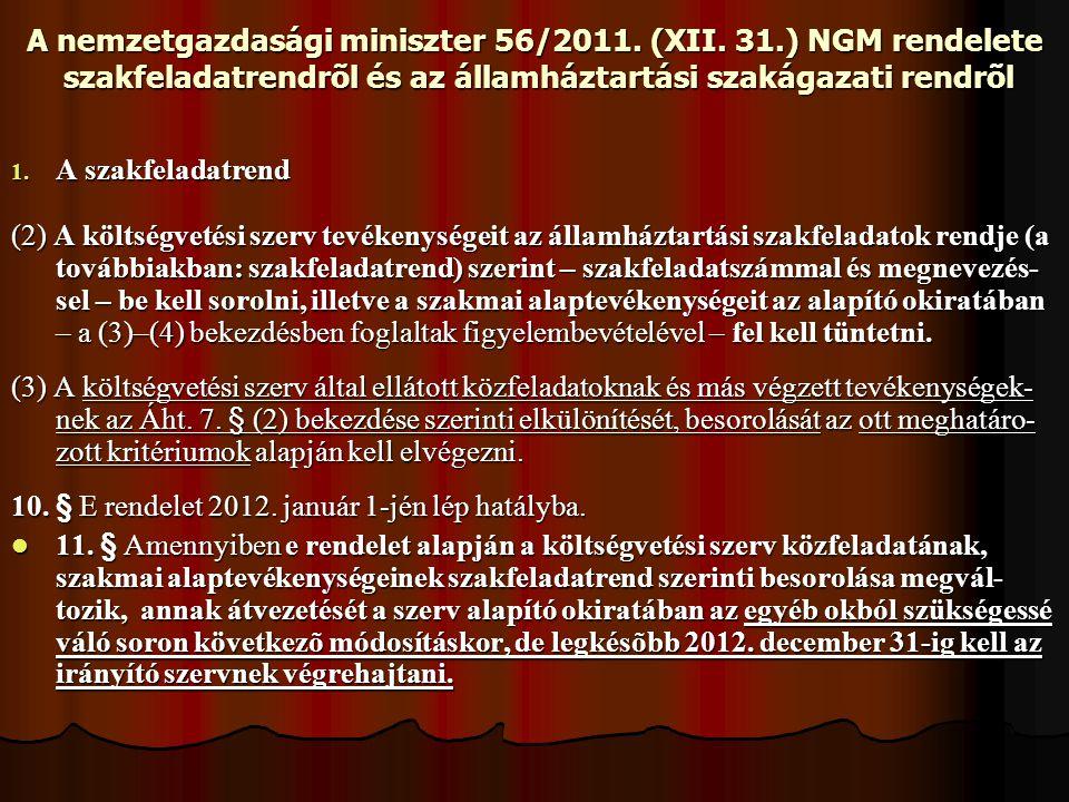 A nemzetgazdasági miniszter 56/2011. (XII. 31.) NGM rendelete szakfeladatrendrõl és az államháztartási szakágazati rendrõl 1. A szakfeladatrend (2) A