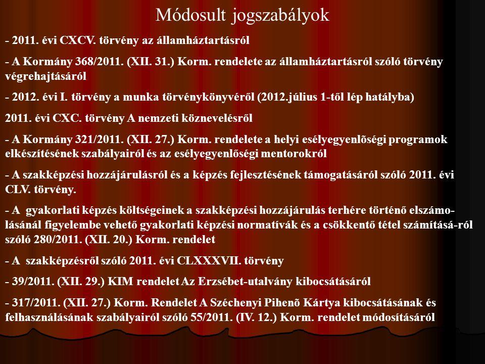 Módosult jogszabályok - 2011. évi CXCV. törvény az államháztartásról - A Kormány 368/2011. (XII. 31.) Korm. rendelete az államháztartásról szóló törvé
