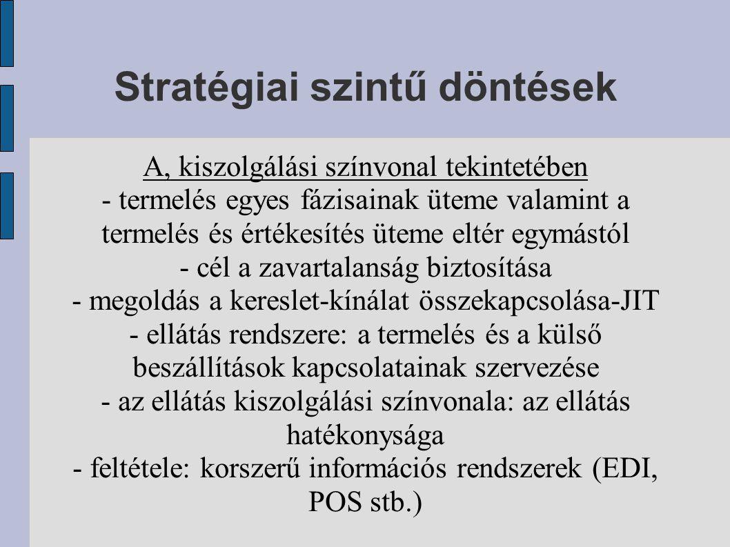 Stratégiai szintű döntések A, kiszolgálási színvonal tekintetében - termelés egyes fázisainak üteme valamint a termelés és értékesítés üteme eltér egy