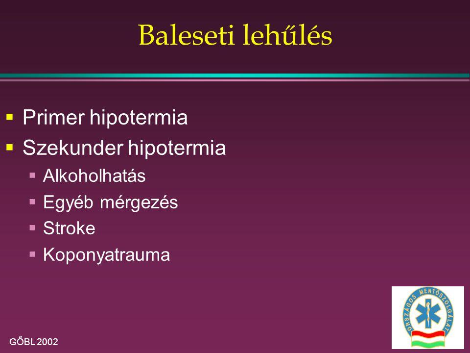 GŐBL 2002 Baleseti lehűlés  Primer hipotermia  Szekunder hipotermia  Alkoholhatás  Egyéb mérgezés  Stroke  Koponyatrauma