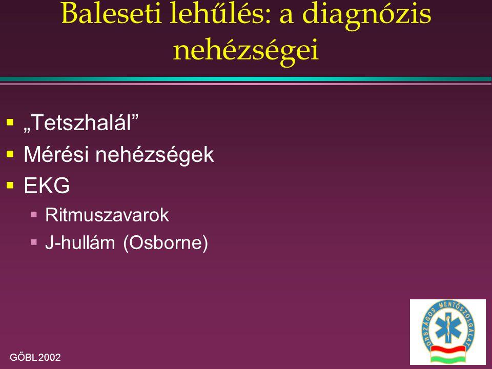 """GŐBL 2002 Baleseti lehűlés: a diagnózis nehézségei  """"Tetszhalál  Mérési nehézségek  EKG  Ritmuszavarok  J-hullám (Osborne)"""