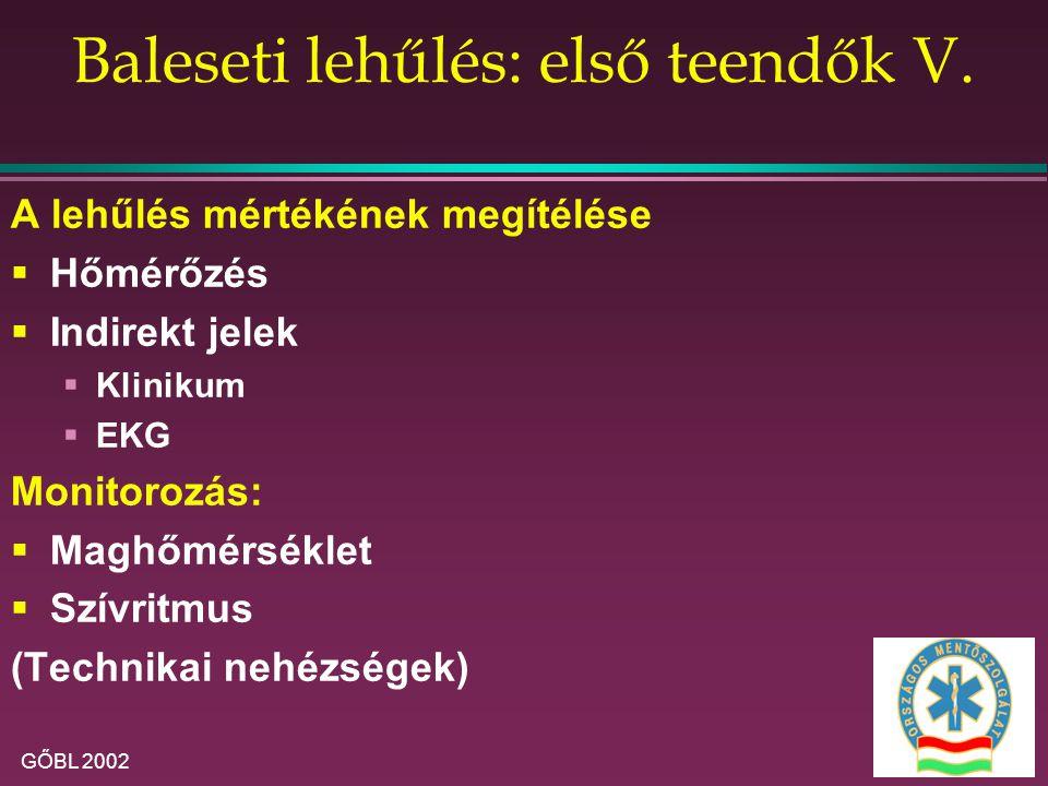 GŐBL 2002 Baleseti lehűlés: első teendők V. A lehűlés mértékének megítélése  Hőmérőzés  Indirekt jelek  Klinikum  EKG Monitorozás:  Maghőmérsékle