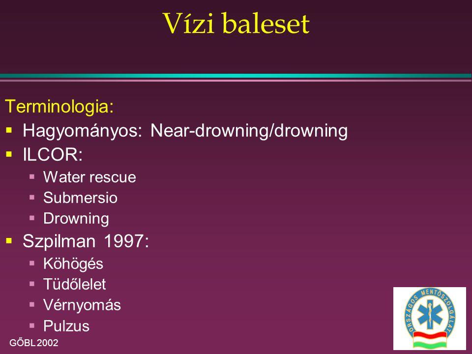 GŐBL 2002 Vízi baleset Terminologia:  Hagyományos: Near-drowning/drowning  ILCOR:  Water rescue  Submersio  Drowning  Szpilman 1997:  Köhögés 