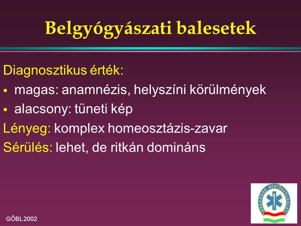GŐBL 2002 Belgyógyászati balesetek Diagnosztikus érték:  magas: anamnézis, helyszíni körülmények  alacsony: tüneti kép Lényeg: komplex homeosztázis-