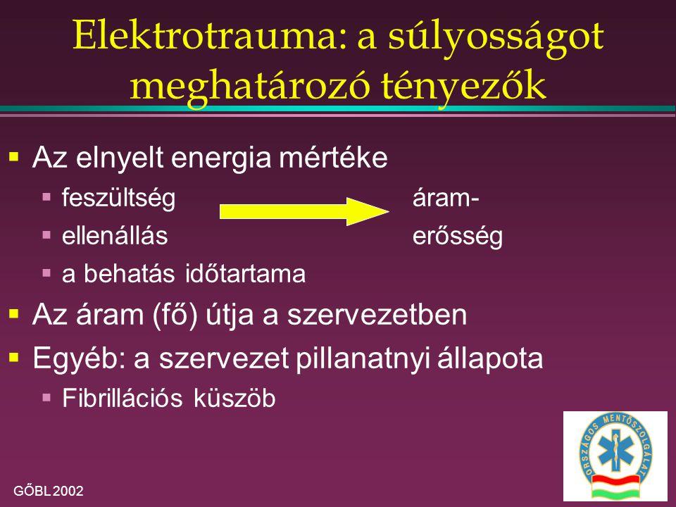 GŐBL 2002 Elektrotrauma: a súlyosságot meghatározó tényezők  Az elnyelt energia mértéke  feszültségáram-  ellenálláserősség  a behatás időtartama  Az áram (fő) útja a szervezetben  Egyéb: a szervezet pillanatnyi állapota  Fibrillációs küszöb