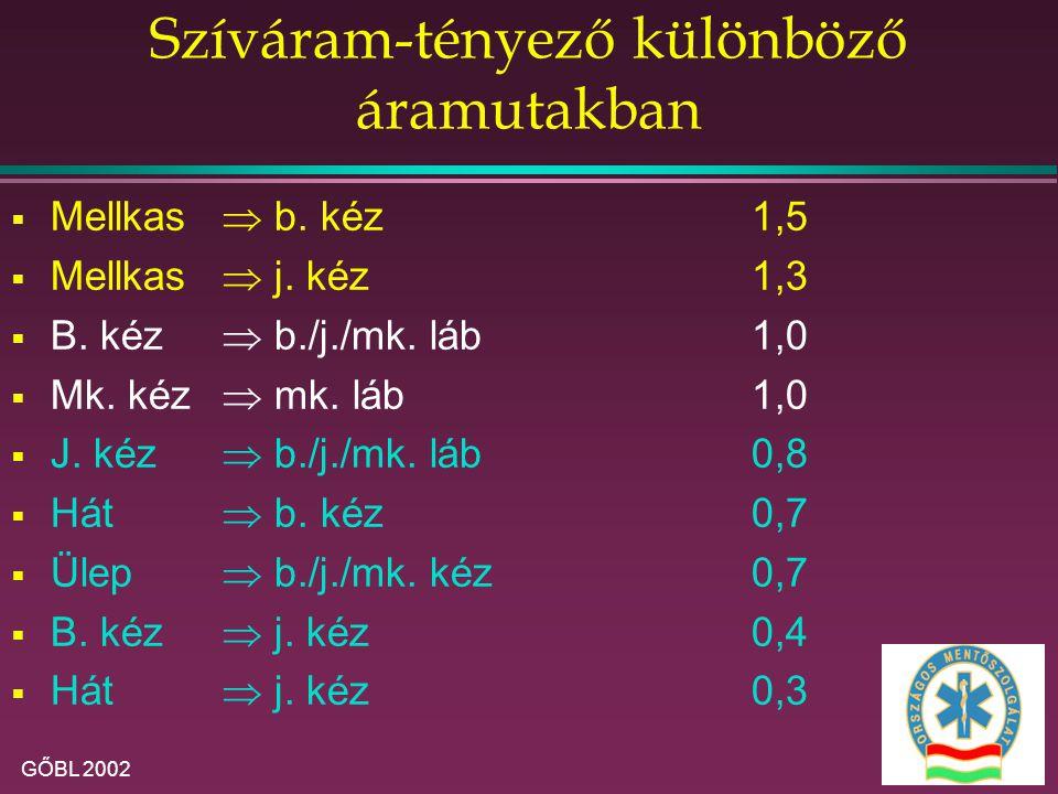 GŐBL 2002 Szíváram-tényező különböző áramutakban  Mellkas  b. kéz1,5  Mellkas  j. kéz1,3  B. kéz  b./j./mk. láb1,0  Mk. kéz  mk. láb1,0  J. k