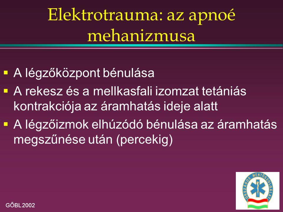 GŐBL 2002 Elektrotrauma: az apnoé mehanizmusa  A légzőközpont bénulása  A rekesz és a mellkasfali izomzat tetániás kontrakciója az áramhatás ideje alatt  A légzőizmok elhúzódó bénulása az áramhatás megszűnése után (percekig)