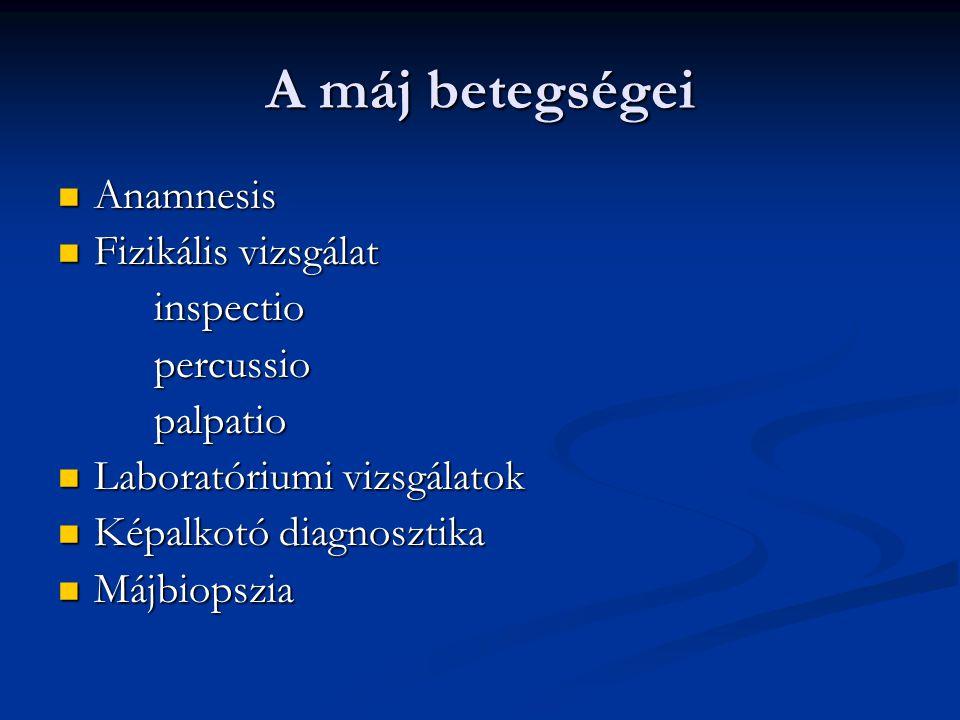 A máj betegségei Anamnesis Anamnesis Fizikális vizsgálat Fizikális vizsgálatinspectiopercussiopalpatio Laboratóriumi vizsgálatok Laboratóriumi vizsgál