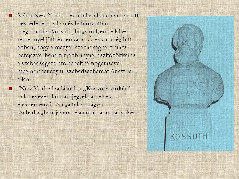 Már a New York-i bevonulás alkalmával tartott beszédében nyíltan és határozottan megmondta Kossuth, hogy milyen céllal és reménnyel jött Amerikába. Õ