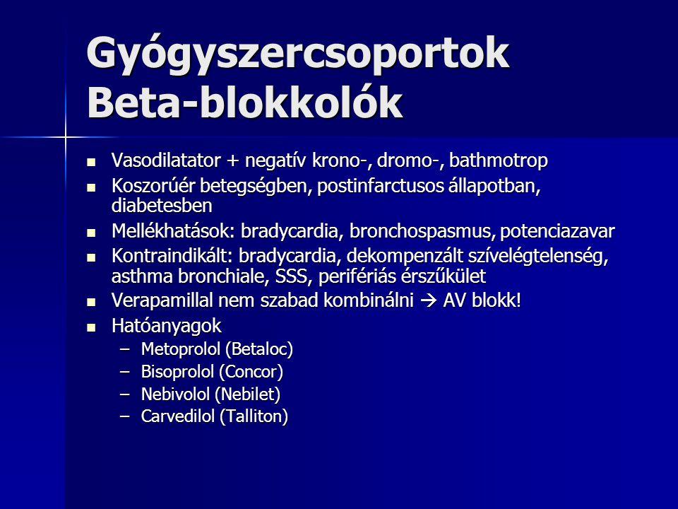 Gyógyszercsoportok Beta-blokkolók Vasodilatator + negatív krono-, dromo-, bathmotrop Vasodilatator + negatív krono-, dromo-, bathmotrop Koszorúér bete