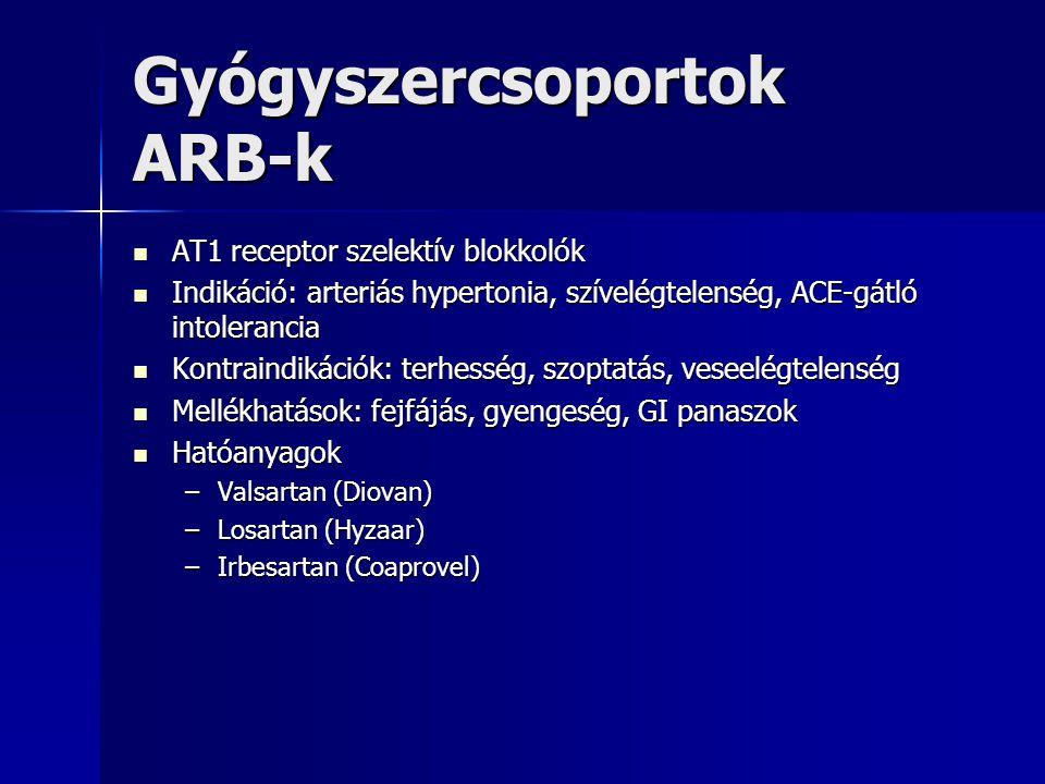 Gyógyszercsoportok ARB-k AT1 receptor szelektív blokkolók AT1 receptor szelektív blokkolók Indikáció: arteriás hypertonia, szívelégtelenség, ACE-gátló