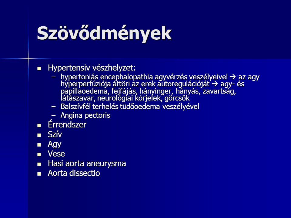 Szövődmények Hypertensiv vészhelyzet: Hypertensiv vészhelyzet: –hypertoniás encephalopathia agyvérzés veszélyeivel  az agy hyperperfúziója áttöri az