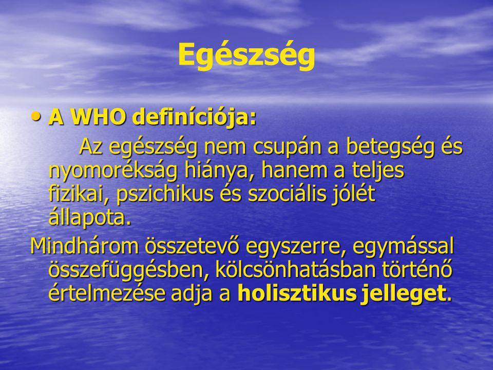 Egészség A WHO definíciója: A WHO definíciója: Az egészség nem csupán a betegség és nyomorékság hiánya, hanem a teljes fizikai, pszichikus és szociáli