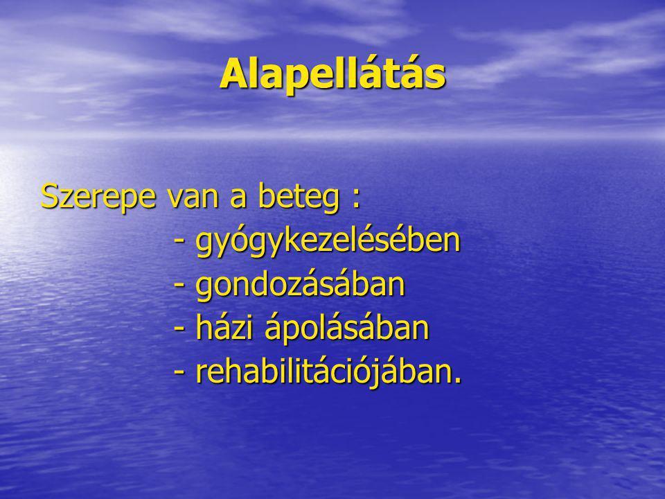 Alapellátás Szerepe van a beteg : - gyógykezelésében - gondozásában - házi ápolásában - rehabilitációjában.