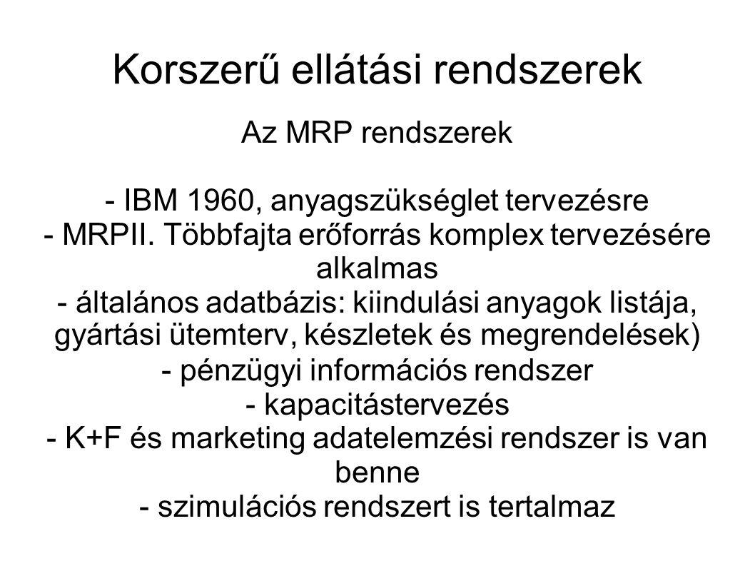 Korszerű ellátási rendszerek Az MRP rendszerek - IBM 1960, anyagszükséglet tervezésre - MRPII. Többfajta erőforrás komplex tervezésére alkalmas - álta