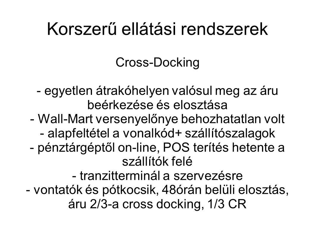 Korszerű ellátási rendszerek Cross-Docking - egyetlen átrakóhelyen valósul meg az áru beérkezése és elosztása - Wall-Mart versenyelőnye behozhatatlan