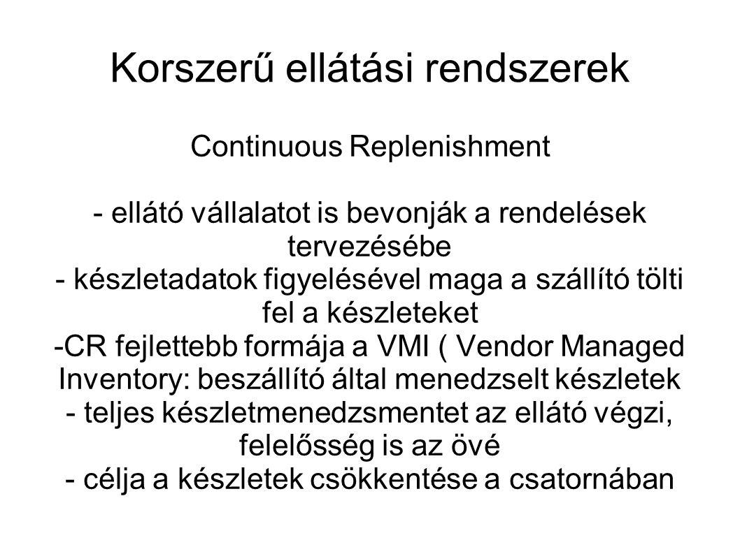Korszerű ellátási rendszerek Continuous Replenishment - ellátó vállalatot is bevonják a rendelések tervezésébe - készletadatok figyelésével maga a szá