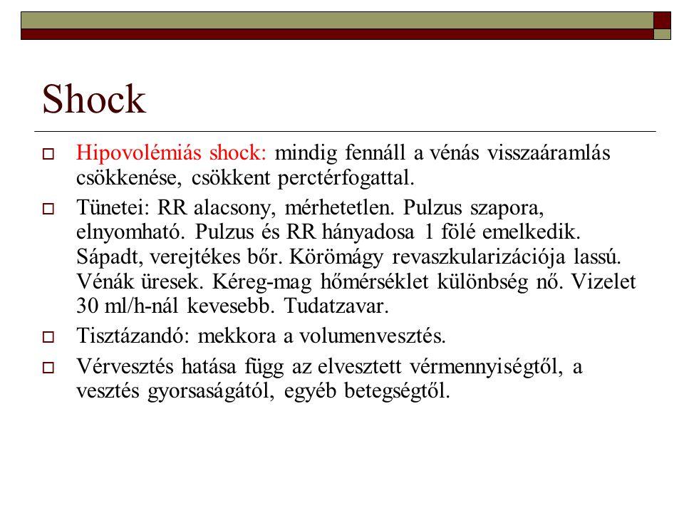 Shock  Hipovolémiás shock: mindig fennáll a vénás visszaáramlás csökkenése, csökkent perctérfogattal.  Tünetei: RR alacsony, mérhetetlen. Pulzus sza