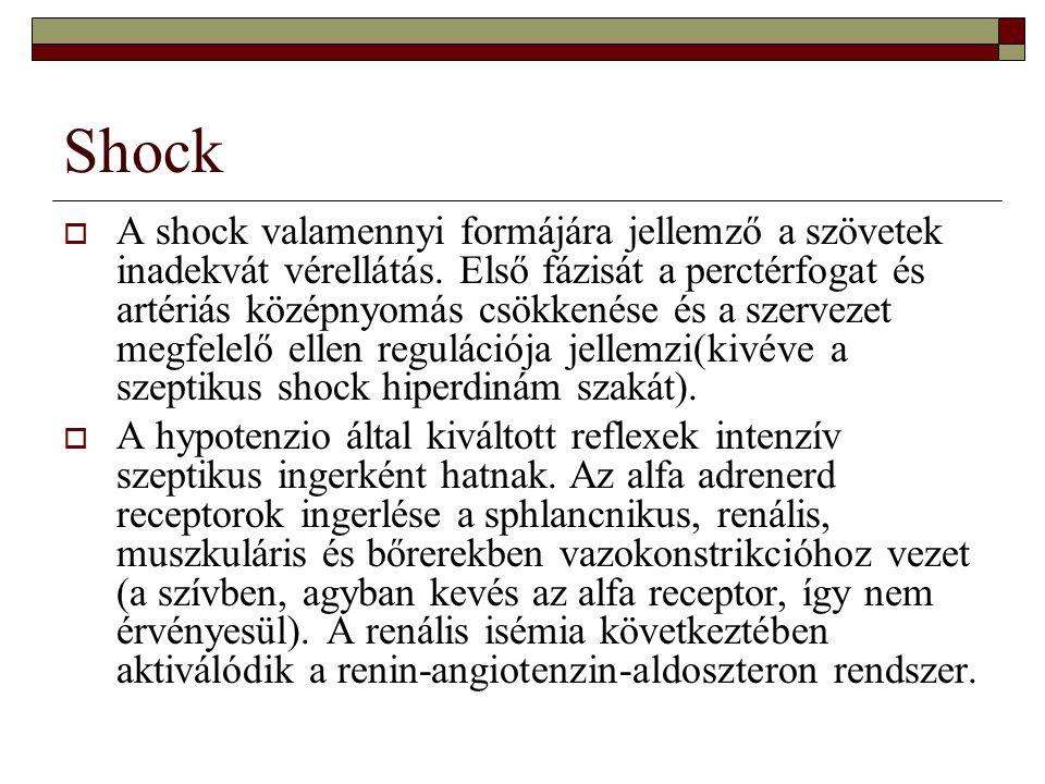 Shock  A vazokonstrikció eleinte hasznos, megfelelő perfúziós nyomást biztosít de ha tartósan fennáll a keringés centralizációja akkor később súlyos károsító tényező.