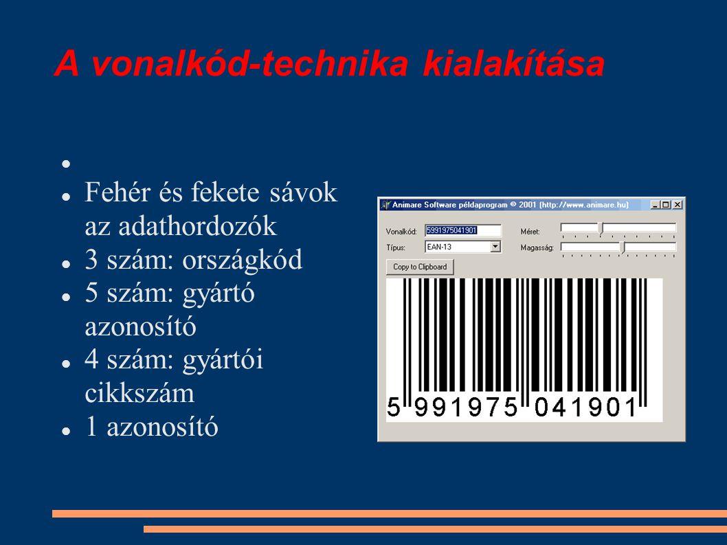 A vonalkód-technika kialakítása Fehér és fekete sávok az adathordozók 3 szám: országkód 5 szám: gyártó azonosító 4 szám: gyártói cikkszám 1 azonosító