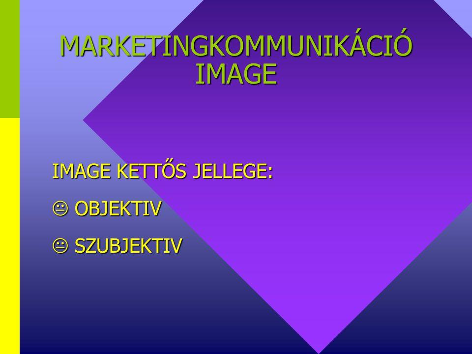 MARKETINGKOMMUNIKÁCIÓ IMAGE IMAGE jellemzői:  Eredmény (nem tevékenység) jelleg  Szubjektiv benyomás  Független a vállalkozás nagyságától  Minden(