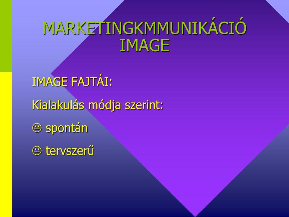 MARKETINGKOMMUNIKÁCIÓ IMAGE IMAGE FAJTÁINAK ÖSSZEHANGOLÁSA: vállalat termék védjegy