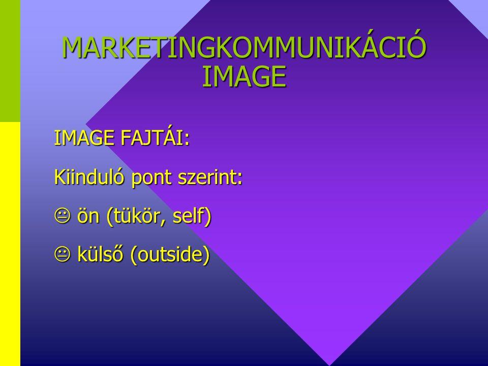 MARKETINGKOMMUNIKÁCIÓ IMAGE IMAGE FAJTÁI: Idődimenzió szerint:  előzetes /tény, current/  jövőbeli /kivánatos, wish/
