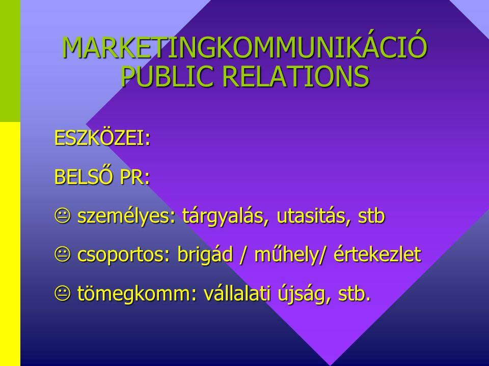 MARKETINGKOMMUNIKÁCIÓ PUBLIC RELATIONS KÉT TERÜLETET ÖLEL FEL:  KÜLSŐ PR  BELSŐ PR KÜLSŐ PR BELSŐ PR