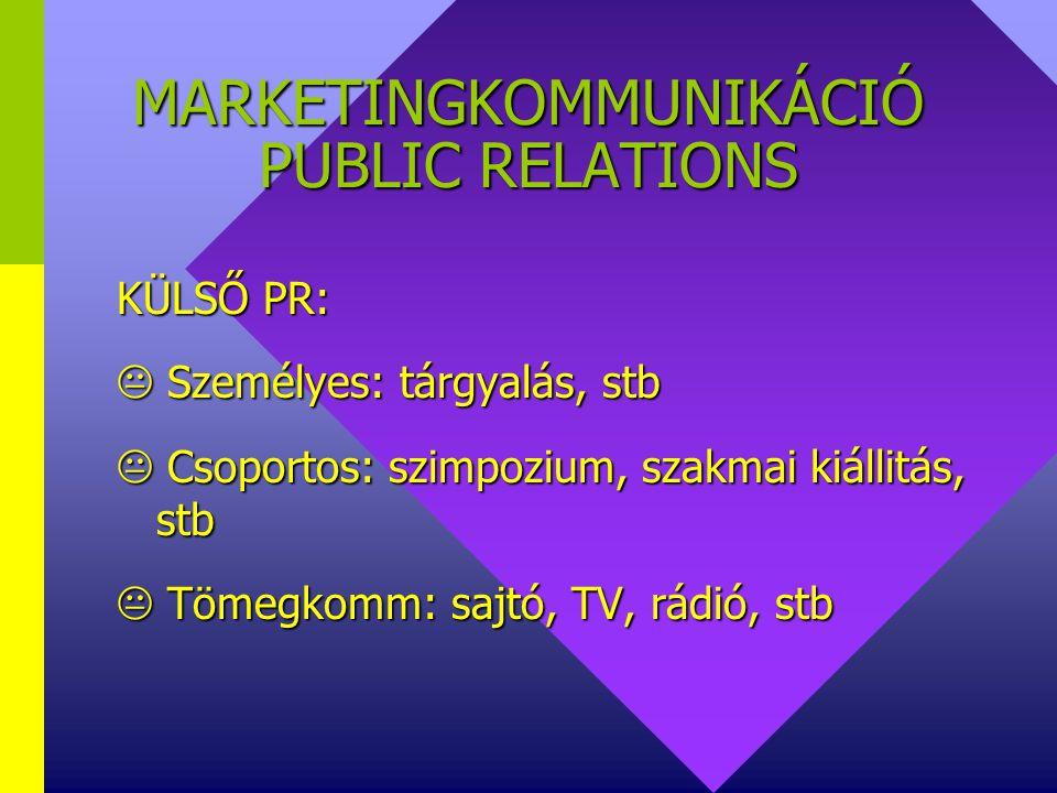 MARKETINGKOMMUNIKÁCIÓ PUBLIC RELATIONS ESZKÖZEI: BELSŐ PR:  személyes: tárgyalás, utasitás, stb  csoportos: brigád / műhely/ értekezlet  tömegkomm:
