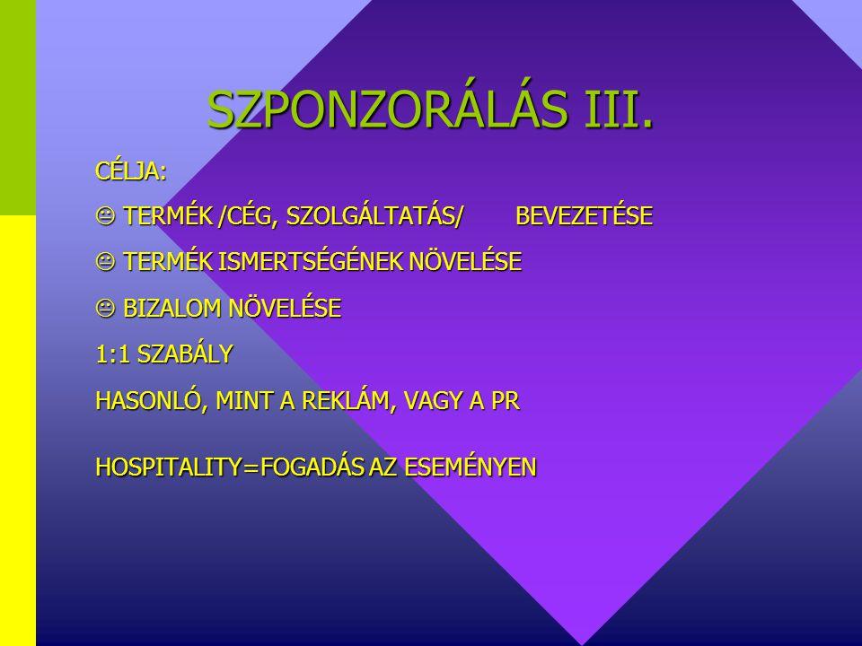 SZPONZORÁLÁS II. TERÜLETEI:  SPORT  KULTÚRA  OKTATÁS  EGÉSZSÉGÜGY  SZOCIÁLIS TERÜLETEK