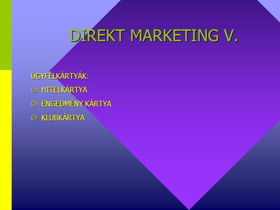 DIREKT MARKETING IV. ESZKÖZEI:  DIRECT MAIL  TELEFONMARKETING  TELETEXT  TELEFAX  E-MAIL  INTERNET  ÜGYFÉLKÁRTYÁK  VEVŐKLUBOK