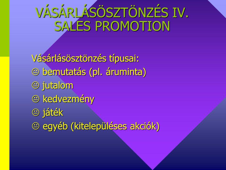 VÁSÁRLÁSÖSZTÖNZÉS III. SALES PROMOTION SP akció lehet:  árengedményes akció  árengedményes akció  árengedmény nélküli akció  árengedmény nélküli a