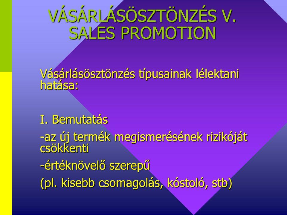 VÁSÁRLÁSÖSZTÖNZÉS IV. SALES PROMOTION Vásárlásösztönzés típusai:  bemutatás (pl. áruminta)  jutalom  kedvezmény  kedvezmény  játék  játék  egyé